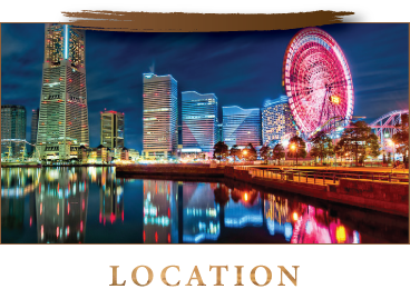 Just 29minutes from Tokyo station by train.  In front of Sakuragicho Station.  Located where is concentrated many tourist spots of Minato Mirai and also where guests can enjoy our dinner with gorgeous night view.
